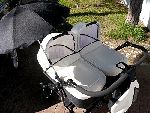 Passeggino per gemelli completo, con carrozzine, passeggini, parasole e accessori, colore: avorio e nero