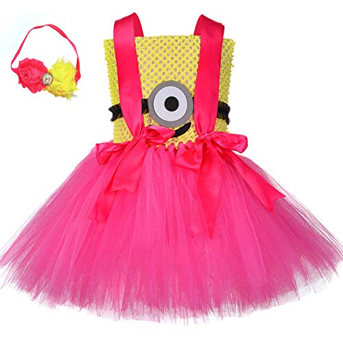 QYS Kids & Baby Minion Pink Mesh & Tutu Set mit Stirnband (6-12 Monate),80cm (Despicable Brille Me)