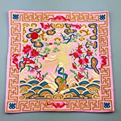 Generic Novelty Chinese Crane Pattern Dining Table Placemats Silk Fabric Square Waterproof non-slip Table Mat Embroidered protector Pad Pink