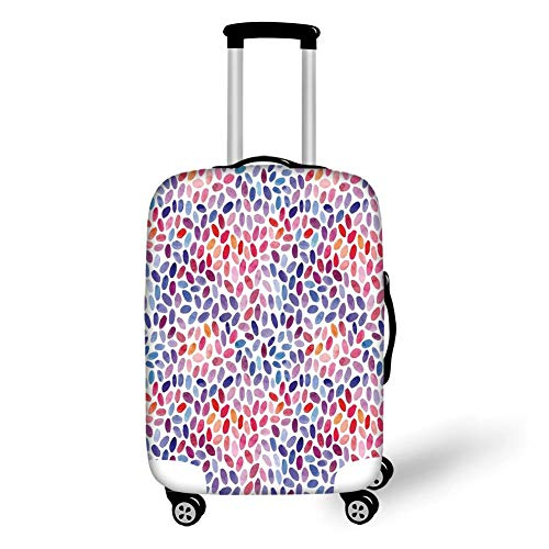 Travel Luggage Cover Suitcase Protector,Geometric Decor,Trippy Abstract Watercolor Mix Figures Funky Structured Hand Drawn Artful Print,Multi,for Travel,M