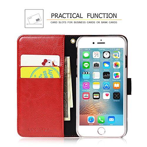 COCASES iPhone 7 Hülle, Flip Case Ledertasche Hülle mit Standfunktion Geldbörse Kartenfach Klapphülle (Rot) Rot