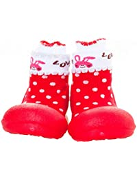 Attipas Newborn Baby Boys Girls 3-40 months Soft Sole Prewalker Toddler Socks cum Shoes Cozie Fleece Booties, Red