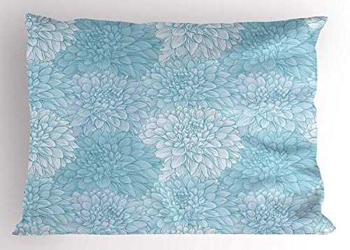 Ejjheadband Dahlia Flower Pillow Sham, Dahlia Petals with Pointed Leaves in Row of Rays Setting with Doodle Style Print, Decorative Standard Queen Size Printed Pillowcase, 30 X 20 inches, Blue - Dahlia Sham