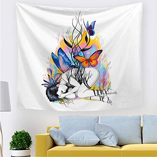 mmzki Hängendes Tuch dekoratives Tuch Aquarell schöne Tapisserie P 200 * 150CM