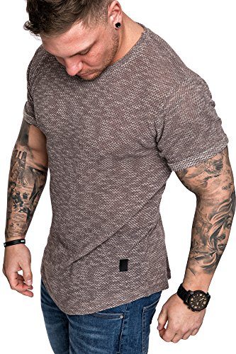 Amaci&Sons Oversize Vintage Herren Krempelärmel Shirt Sweatshirt Basic Crew-Neck 6092 Burned Brown XL (Crew Neck Basic Sweatshirt)