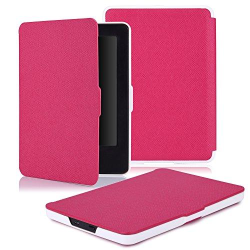 """MoKo Étui de protection pour Kindle (7ème génération - modèle 2014) - étui Flip ultra mince et léger pour Tablette Amazon Kindle écran tactile 6"""" avec Fontion de réveil / sommeil Automatique, NOIR Magenta"""