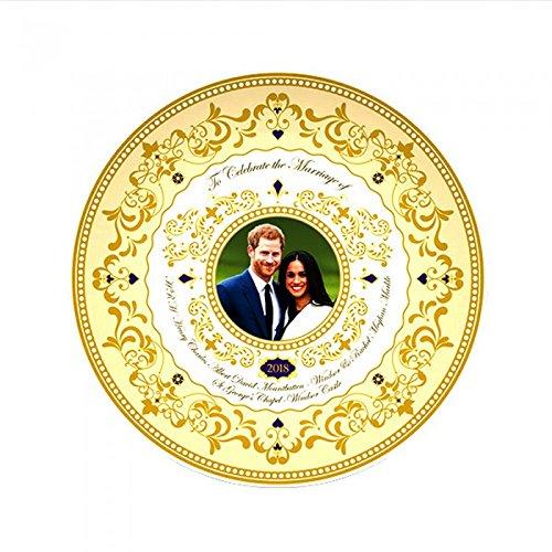Royal Hochzeit 2018Prince Harry und Meghan 15cm Deko Teller, Weiß / Gold, Einheitsgröße