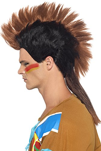 Smiffys, Herren Indianer Mohikaner Perücke, One Size, Braun, (Kostüm Haare Ideen Braune)