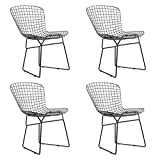 QIHANG-UK Chaise Chaise de Salle à Manger côté Chaise Chaise de Fil de Fer pour Salle à Manger Salon Dormitory Restaurant Coffee House (Lot de 4)