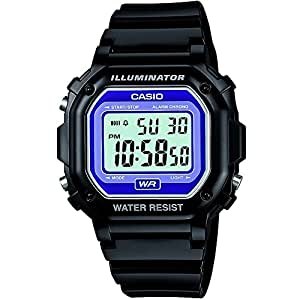 CASIO Vintage Unisex Quartz Watch with Multi-Colour Dial Digital Display and Black Resin Strap F-108WHC-1BEF