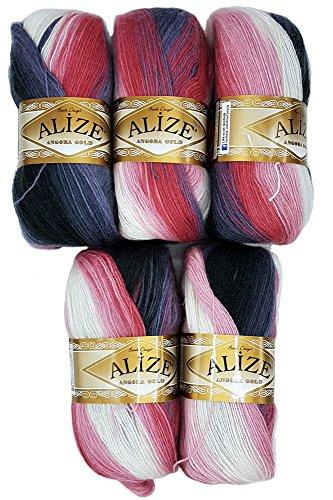 ALIZE 5 x 100 g Strickwolle Mehrfarbig mit Farbverlauf, 500 Gramm Strickgarn mit 20% Wolle-Anteil (Schwarz Grau Beere u.a. 1602)