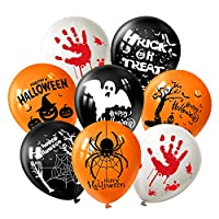 FEPITO Halloween Decorations Latex Balloons Halloween Fun Party Balloons with 7 Halloween Pattern