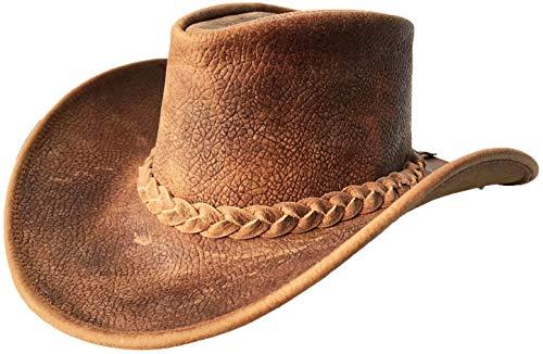 Brandslock Mens Vintage Breiter Rand Cowboy Aussie Style Western Bush Hut (M, Brown) - Aussie-cowboy-hut