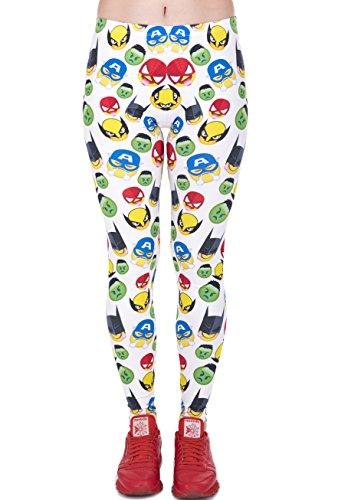 ns Gelb Weiß Bedruckte Leggings Hose Frühling Sommer Kleidung Superhelden Smilys L26 (Damen Superhelden-kleidung)