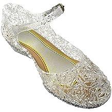 GenialES Disfraz Sandalias de Vestido con Tacón Plástico Princesa Queen Balnco para Cumpleaños Carnaval Fiesta Cosplay Halloween Niña EU30-EU35