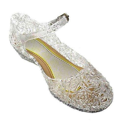 GenialES Disfraz Sandalias de Vestido con Tacón Plástico Princesa Queen Balnco para Cumpleaños Carnaval Fiesta Cosplay Halloween Niña EU34/195