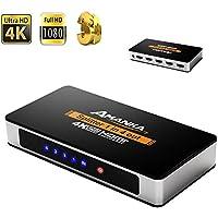 AMANKA HDMI Splitter/distribuidor 1x 4Distribuidor de señal de 4Vías, compatible con 3d 4K UHD, Bifurcador HDMI 1entrada 4esporta para HDTV STB PS3DVD multmedia PC ect, aluminio