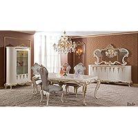 Klassisch Luxuriöses Esszimmer Set U2013 BADE (1 Esstisch, 6 Esszimmerstühle, 1  Vitrine,