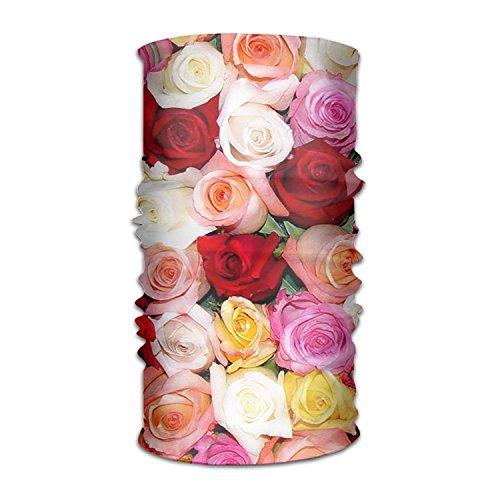 Unisex Headbands Roses Pink Cream Headwear Magic Bandana Neck Scarf Mask Fashion Sweatband Wrap for Outdoor - Cowl Neck Cream