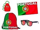 PROMOTION: Kit supporter Portugal (Alsino FP-21): 4 Accessoires: Sac drapeau caxirola et Lunettes à grille à trous Seleção das Quinas A Seleção Rouge vert blanc bleu idée cadeau femme fille homme