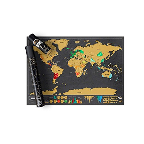 iDream Creative Scratch Map With Scratch Off Layer Visual Travel Journal World Map Poster (42cm x 30cm)