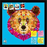 ArtzFolio Head Of Grizzly Bear In Geomeyric Pattern Printed Bulletin Board Notice Pin Board cum Black Framed Painting 12 x 12inch