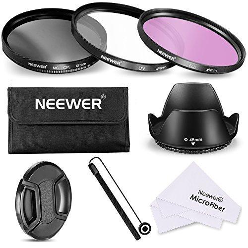 Neewer 49MM Objektiv-Filter-Zubehör-Set für SONY Alpha und NEX-Kameras 18-55mm und 55-210mm Objektive, Filter Set enthält + Trage Beutel + Lichtblende + Objektivdeckel + Kappen Hüter Leine