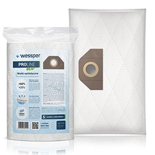 Wessper Bolsas de aspiradora para Karcher WD5 1.348-191.0 (5 piezas, sintéticas)