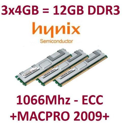 HYNIX original 3 x 4GB = 12GB Kit 240 pin ECC DDR3-1066 PC3-8500R 128Mx4x36 double side (HMT151R7BFR4C-G7) für MacPro Nehalem Systeme 4,1 (Baujahr 2009)  mit Kühlkörper -