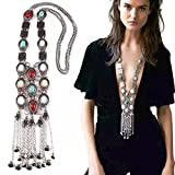 Tpocean Vintage Rhinestone Retro Plata Oro Turquesa Boho largo Bohemio Declaración Ethnic Tribal Collar para Mujer