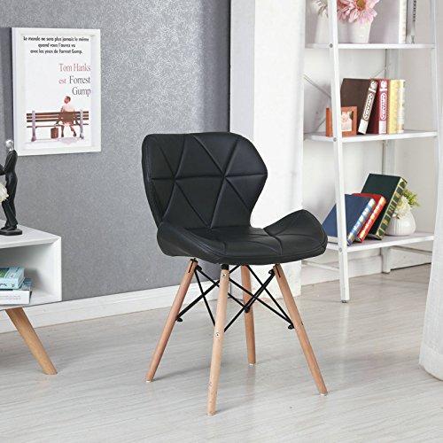 Panana 2er Wohnzimmerstuhl Eiffel Gepolsterter Stuhl Esszimmerstuhl Bürostuhl Holz - Schwarz (Esszimmerstuhl Gepolstert)