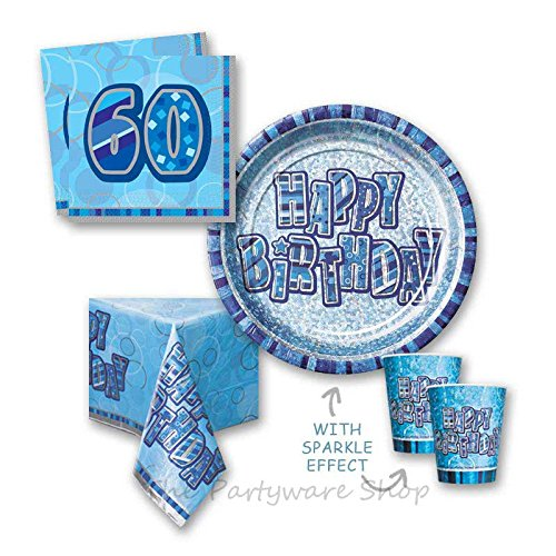 Blue Glitz 60th Birthday Party Tableware Pack for 8 by The Partyware Shop