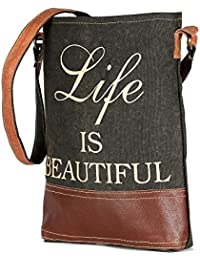 Black Color Leather And Canvas Tote Shoulder Bag Stylish Shopping Casual Bag Foldaway Travel Bag
