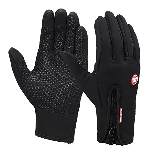 Magic Zone Unisexe Gants de Cyclisme, Molleton d'hiver Coupe-vent Gants Tactiles, pour Ecran Tactile de Tablettes et Smartphones - Noir - Small