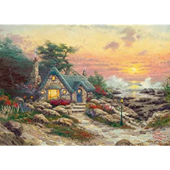 Gibsons Cottage by the Sea Jigsaw Puzzle by Thomas Kinkade (1000 Pieces)