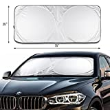 "Likorlove Car Windshield Sunshade Jumbo (74"" x 35""),Blocks UV Rays Sun Visor Protector,Sunshade To Keep Your Vehicle Cool And Damage Free,Easy To Use,Fits Windshields of Various Sizes"