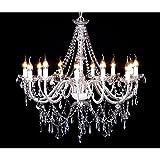 Kronleuchter venezianischen Metall und Glas Barock 12Herde 1600Kristall Weiß