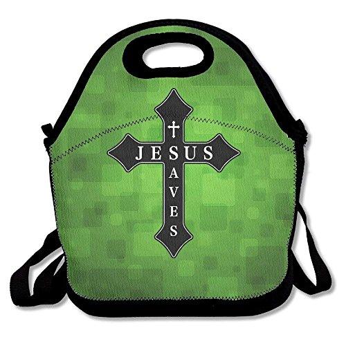 arthur thom Jesus rettet Neon Cross große Dicke isolierte Tote Lunch & Acirc; Tasche Utensilien Lunch Bag für Männer Frauen Kinder Art of Lunch - Große Neon Tote Taschen