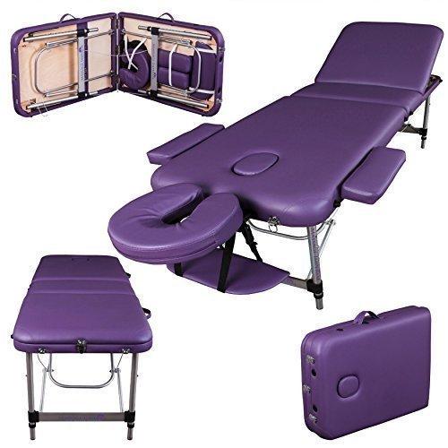 Massage Imperial® Mayfair Lettino Profession ale Per Massaggio Portatile Alluminio 3 Sezioni Schiuma Ad Alta Densità 5cm, Viola