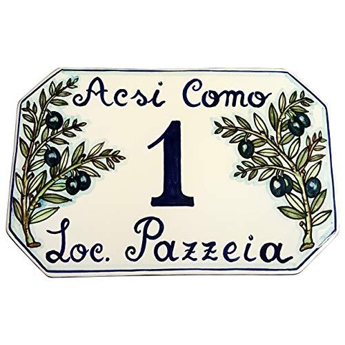 CERAMICHE D\'ARTE PARRINI- Künstlerische italienische Keramik, Hausnummer 23x15 individuelle Dekoration Oliven, Fliesen handgemacht in Italien Toscana