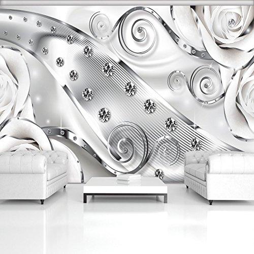 ForWall Fototapete Vlies Tapete Design Tapete Moderne Wanddeko Gratis Wandaufkleber Luxuriöses Muster mit Diamanten V8 (368cm. x 254cm.) Photo Wallpaper Mural AMF2613V8 Abstraktion Grau Ornamente Diamant Muster Blumen TAPETENKLEISTER INKLUSIV