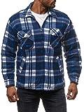 Herren Fleece Jacke Holzfäller Hemd Thermo Flanell Sweat Shirt H2070, Farben:Schwarz-Blau, Größe Jacken:XL
