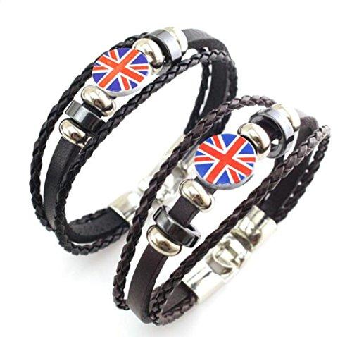 Braun Union Jack (Armband Leder geflochten MULTILAYER Union Jack Surfer Armreif Seil Haken Verschluss Armband (2Set))