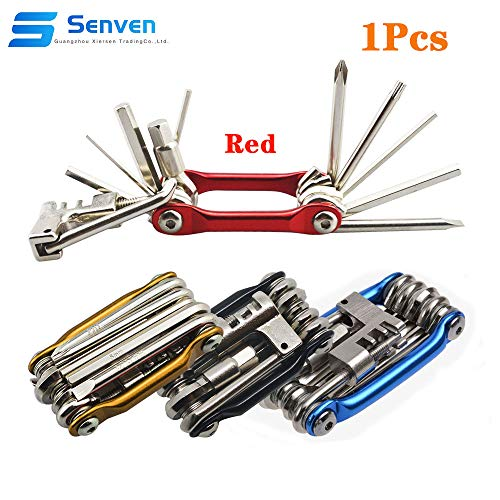 Senven 11 en 1 Multifunción Bicicleta Reparacion Herramientas, Multiusos Bici Herramientas, Mini Plegables Herramientas, Mantenimiento Herramientas Kit - Rojo