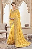 Triveni Georgette Yellow Festival Wear Embroidered Traditional Sarees