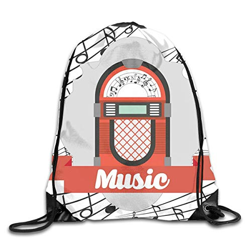 Jukebox Duvet Cover Set Twin Size, Old Vintage Music Radio Box Cartoon Image With Notes Artwork Print,Orange Pale Grey Black_2Drawstring Shoulder Backpack -