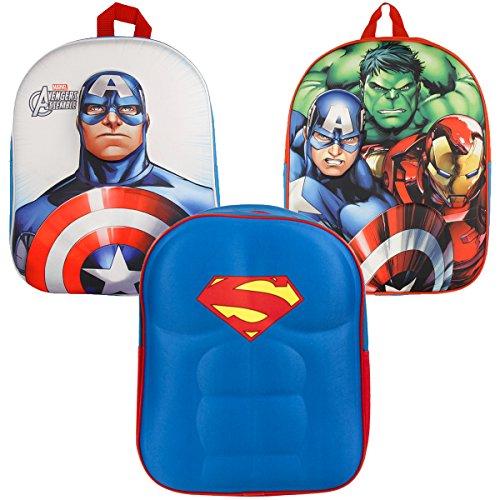 Rucksack für Kinder Jungen Mädchen Super-Heros für Schule und Kindergarten mit tollem 3D-Motiv