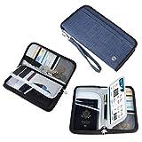 Reisepass Tasche Reisepasshülle Blau RFID-Blocker Schutzhülle | Familien Reise Brieftasche Pass Hülle Passport Etui Ausweistasche Dokumente Organizer für Damen/Herren