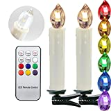HJ® 20 Set RGB LED Kerzen Baumkerzen Weihnachtskerzen mit Infrarot Fernbedienung, Timerfunktion, Classic beige, Kerzenlichter Flammenlose