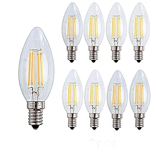 ack of Ougeer 8 E14 LED Filament Bulb Retrofit Classic Clear Round, Not Dimmable, 40 W Equivalent Light Bulb, 400lm, Warm White 2700 K